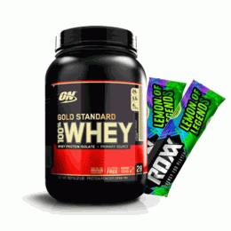 100% Whey Protein Gold Standard (909g) + 2 Roxx Energy Drink (7g)